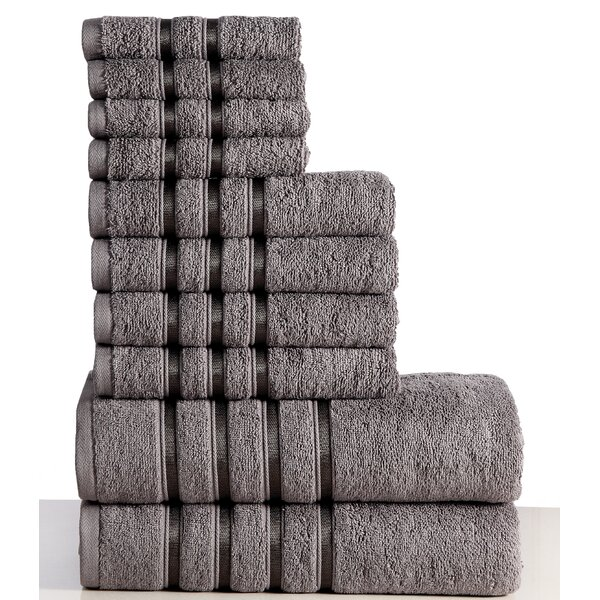 10 Piece 100% Cotton Towel Set by Panache Home Inc.